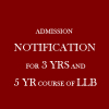 ADMISSION NOTIFICATION FOR 3 YRS AND 5 YR COURSE OF LLB